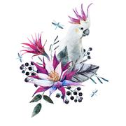 Watercolor tropical composition with white parrot - stock illustration