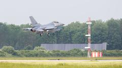 LEEUWARDEN, THE NETHERLANDS -MAY 26: F-16 fighter during a comparisontest wit - stock photo