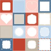 Set of 16 frame, border lace and background design for application mobile Stock Illustration