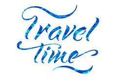 Words travel time on white background. summer lettering hand drawn Stock Photos