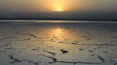 Sunset on the Saltwater Lake, Dallol, Danakil Desert, Ethiopia, Africa Stock Footage