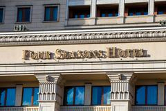 Four Seasons Hotel sign in Moscow, Russia Stock Photos
