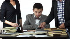 Student solving the problem his teachers are praising him. Stock Footage