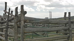 Coal fired power plant twin smoke stacks weathered corral - stock footage