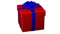 Gift box tied ribbon with a bow turn around. 3D rendering. Stock Footage