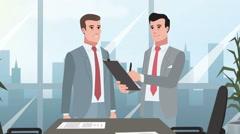 Cartoon Corporate / Two Businessman talking Stock Footage