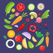 Vegetable Salad Ingredients Collection - stock illustration
