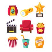 Movie Theatre Related Objects Collection - stock illustration