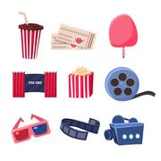 Movie Theatre Related Objects Set Stock Illustration