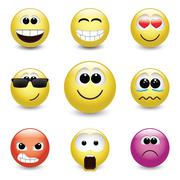 Smiley faces expressing different feelings - stock illustration