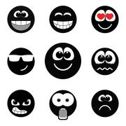 Smiley faces expressing different feelings, black and white version Stock Illustration
