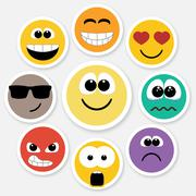 Smiley faces expressing different feelings, colored version Stock Illustration