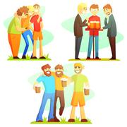 Man Friendship Three Colorful Illustrations - stock illustration