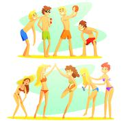 Friends On Beach Holiday Colorful Illustration - stock illustration