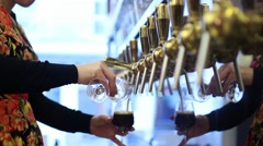 Woman Bartender Pouring Draft Beer Stock Footage