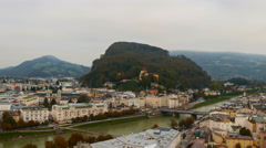 View of Salzburg and traffic and pedestrians around the city - stock footage