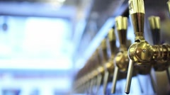 Many Beer Taps In The Pub Stock Footage