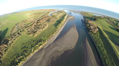 Aerial view of Otaki River and beach on the Kapiti coast Stock Footage