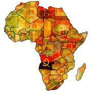 Angola on actual map of africa Stock Illustration