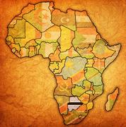 Botswana on actual map of africa Stock Illustration