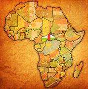 Central african republic on actual map of africa Stock Illustration