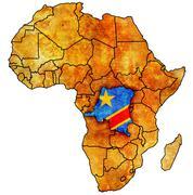 Democratic republic of congo on actual map of africa Stock Illustration