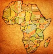 Erytrea on actual map of africa Stock Illustration