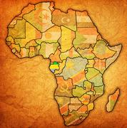 Gabon on actual map of africa Stock Illustration