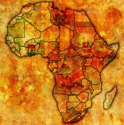 Ghana on actual map of africa Stock Illustration