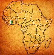 Ivory coast on actual map of africa Stock Illustration