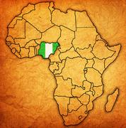 Nigeria on actual map of africa Stock Illustration