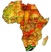 South africa on actual map of africa Stock Illustration