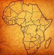Rwanda on actual map of africa Stock Illustration