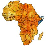 Somalia on actual map of africa Stock Illustration
