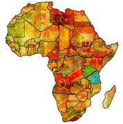 Tanzania on actual map of africa Stock Illustration
