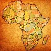 Togo on actual map of africa Stock Illustration