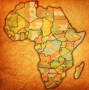 Tunisia on actual map of africa Stock Illustration
