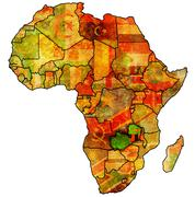 Zambia on actual map of africa Stock Illustration
