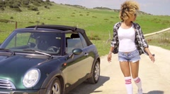 Woman Tries To Steal The Car. Stock Footage