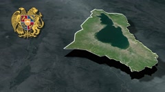 Gegharkunik Province with Coat of arms animation map Stock Footage