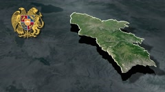 Syunik Province with Coat of arms animation map Stock Footage