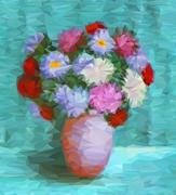 Flowers Asters, Low Poly - stock illustration