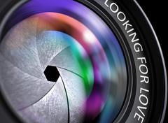 Lens of Reflex Camera with Inscription Looking For Love - stock illustration