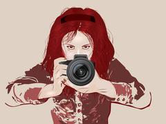 Female photographer - stock illustration