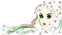 Floral Girl with White Hair Stock Illustration
