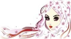 Floral Girl with White Hair - stock illustration