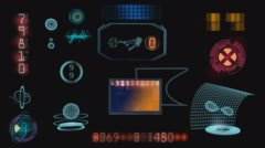 hud space system with black background and alpha channel - stock footage