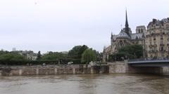 Flood in Paris. June 2016. The swollen Seine river put quays underwater Stock Footage
