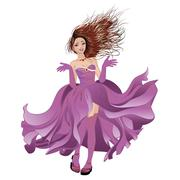 Girl in Flowing Dress Stock Illustration