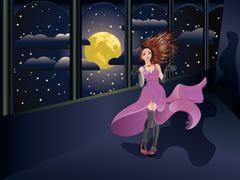 Girl in Purple Dress on Balcony - stock illustration